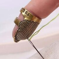 2PCS Thimble Finger Protector Shield Metal Sewing Antique Brass Needles Craft