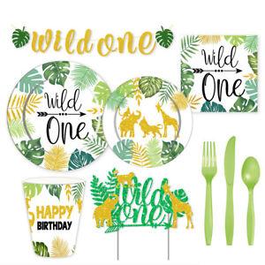Safari Animal Jungle Tableware Cups Napkins Boy Girl 1st Birthday Party Supplies