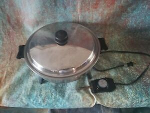 """Vintage ELECTRIC Saladmaster Salad Master 7252 Skillet PAN 12"""" OIL Liquid LID"""