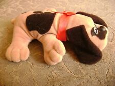 Pound Puppies Tonka 1985 Mini Plush Dog 8 Inches Long w/ Red Ribbon