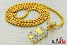 14k Gold Plated Jesus Piece Small Micro Chain Set Mens Dope New Custom Pendant