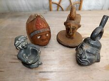 4 Vintage Polynesian? Wood, Coconut,Pot Carvings interesting collector's items