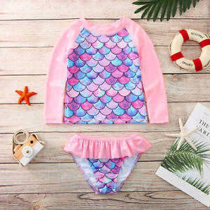 Toddler Baby Girl Long Sleeve Mermaid Two-piece Swimwear Beach Swimsuit Outfits