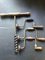 3 Vintage Hand Drill Auger Bit Brace & T Handle Wooden Handle Auger