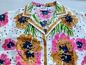 Vintage Vera Neumann Floral Blouse Shirt Mid Century Mod Stylized Floral Sz 12