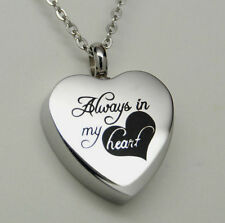 """Engraveable Cremation Urn Necklace with Laser Engraved """"Always in my Heart"""""""