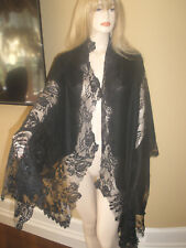 NEW $2K GORGEOUS VALENTINO LARGE BLACK LACE AND CASHMERE FRENCH LACE SHAWL/WRAP