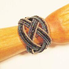 "2"" Wide Black Multi Boho Handmade Statement Braided Seed Bead Bali Cuff Bracelet"