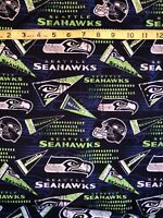 """Seattle Seahawks 100% Cotton Fabric Retro - Sold By 1/2 Yard 18"""" x 58"""""""