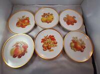 6 Golden Crown E&R Germany Harvest Fruit Dessert/Salad/Cheese Plates
