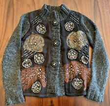 Women's Alberto Makali Gray Embellished Top / Cardigan sweater Sz S