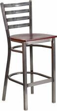 HERCULES Series Clear Ladder Back Restaurant Barstool - Wood Seat  New