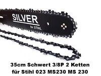 Schwert und 2 Ketten 35 cm 3/8P 1, 3 50 TG SILVER passend für Stihl