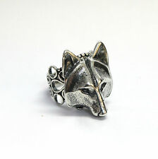 Silver Wolf Mask Ring Adjustable Filigree Band Animal Face Head Fashion 059