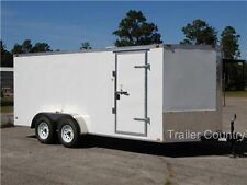 New 2021 7x16 7 X 16 V Nose Enclosed Cargo Trailer With Ramp