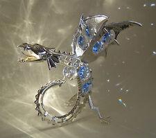 "SWAROVSKI BLUE CRYSTAL ELEMENTS ""ICE DRAGON""  FIGURINE SILVER PLATED"