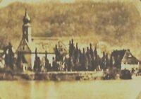 Arthur Zimmermann Gedicht: DER ALTE DORFKIRCHHOF Farb-Litho mit Dorf an der Elbe