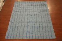 Moroccan 8X11 Hand-Knotted Oriental Area Rug Light-Blue Wool Carpet (8 x 10.8)