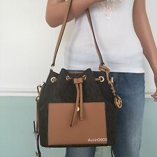 NEW! MICHAEL KORS MK Medium PVC Leather Tote Shoulder Crossbody Bag Purse Brown
