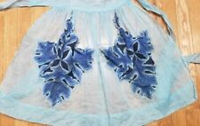 New listing Vintage Apron Blue Organdy With Leaf Shape Handkerchief Pockets As Is
