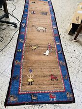Original Designer Gabbeh Teppich Orientteppich 295x80cm Camel Figuren Alt