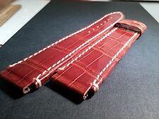 Genuine Milus 18/20mm, SHINY BROWN, white stitch, no buckle, genuine leather