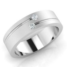 Round Cut Natural 0.09 ct 14Kt White Gold Diamond Engagement Mens Rings Size W U