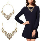 European Vintage Luxurious Collar Bronze Lace Flower Chain Choker Necklace