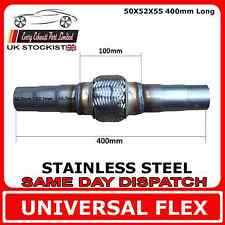 Universal Exhaust Flex Pipe Stainless Steel Flexi 50 IDx52 IDx55 ID 400mm Long