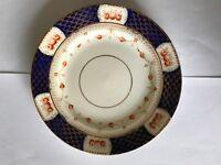Warwick China 17.5 cm Tea plate with a Blue/Gold/Orange pattern
