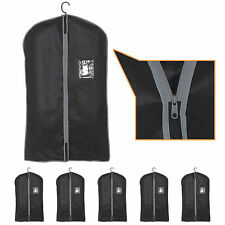 5x Set Of Blk Black Breathable Garment Suit Dress Clothes Cover Travel Bags UK