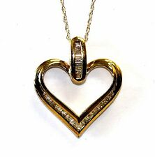 "10k yellow gold .25ct SI2 H diamond heart pendant chain necklace 2.5g 18"" womens"