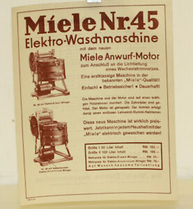 Miele Werbeblatt Miele Elektro Waschmaschine Nr. 45 Blatt Prospekt