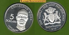 Guyana Guyane - 5 Dollars 1976  PROOF UNC FDC Argent Silver 17 536 exemplaires
