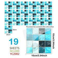 19Pcs 3D DIY Mosaic Self-adhesive Bathroom Kitchen Floor Wall Stair Tile Sticker