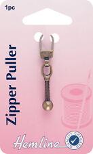 Hemline-Zipper Puller bronzo BALL. allegare a zip, per una facile apertura e chiusura-Pack 1