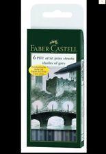 Faber-Castell 6 PITT Artist Pens BRUSH India Ink - SHADES OF GREY