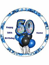 "Novelty Personalised 50th Birthday Blue 7.5"" Edible Wafer Paper Cake Topper"