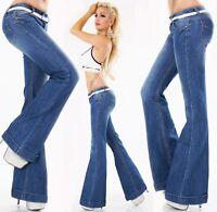 Femmes Pantalon Jeans Bootcut Choc Coupe Arrondie à Pattes D'Éléphants Large