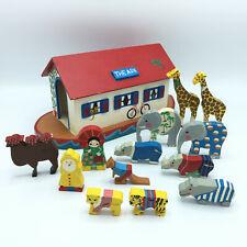 Vintage Handmade Noahs Ark Wooden Animals 13 Animal Figures Open Close Top