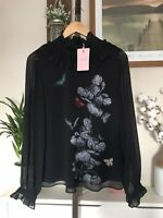 TED BAKER Ashliee narnia ruffled neck blouse RRP £119 Size 3 UK 12 Butterfly top