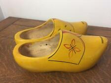 Dutch Wooden Garden Clogs Shoes Size 23 Yellow Us 5 / 5.5 Handmade Carved Wood