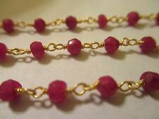 1 Foot Faceted Ruby Hand knotted Beaded 24KGP Brass Chain Gemstone  R1 (25)