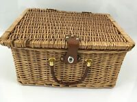 Vintage Hamper Wicker Picnic Basket Dining Insulated Storage Weaved With Straps