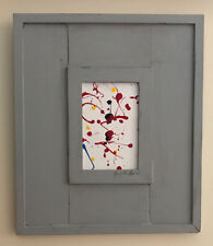 "3.5""x5.5"" Pollock Abstract Painting Original Acrylic Framed 4.5"" Frame 12""x14"""