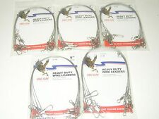 """30 STAINLESS EAGLE CLAW 9"""" WIRE LEADERS 6 TO A PK 30 LB TEST 5 PACKAGES"""