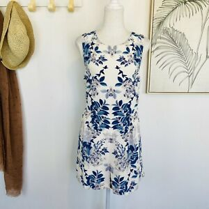 THURLEY | Size 12 | Blue White Floral 100% Silk Sleeveless Playsuit Romper