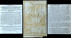 1849 MAP GENESEE LANDS COUNTY OF ONTARIO & NEW YORK STATE FINGER LAKES Iroquois