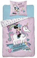 Minnie Unicorno Set 2pezzi Letto Singolo Lenzuola Copripiumino + Federa cotone