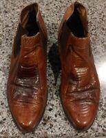 FLORSHEIM Barletta Mens Tan Brown Genuine Snakeskin Leather Ankle Boots Size 9 D